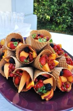 Fruit In ice cream cones