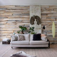 I don't like that it is a wall sticker but the idea of using boards like a texture is kind of cool.  Whitewashed Wood Wall Mural