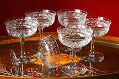 china silverware glasses vintage champagne glasses six coupe champagne by cristinasroom Vintage Champagne Glasses, Champagne Coupe Glasses, Bar Lounge, Christmas Inspiration, Shabby Chic Decor, Food Art, Chin Chin, Bar Carts, Cocktails