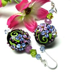 Black Earrings Lampwork Earrings Floral Earrings by SeeMyJewelry