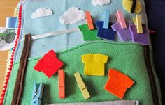 Laundry page - colorful shirts on a little clothesline