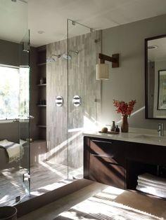 Master Bath- shelving, enclosure, and lighting.