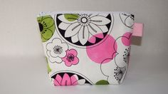 Make Up Bag, Medium Cosmetic Bag, Fabric Make Up Bag, Handmade Bag, Zipper Bag