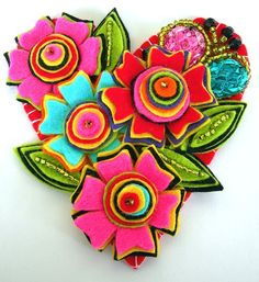 fantastic colours on this handmade brooch.