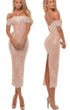 MACloth Off the Shoulder Lace Midi Prom Dress Tea Length Bridesmaid Dress