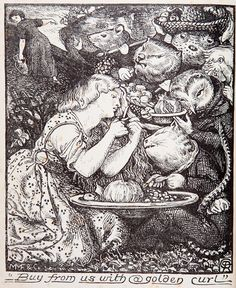 size: Giclee Print: Frontispece to 'Goblin Market and Other Poems' by Christina Rossetti, Engraved by William Morris by Dante Gabriel Rossetti : Entertainment Dante Gabriel Rossetti, John Everett Millais, Christina Rossetti, Arthur Rackham, Comic, Pre Raphaelite, Goblin, Faeries, Illustrators