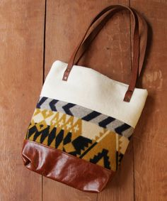 wool and leather tote bag by nanmadeobjects on Etsy, $108.00