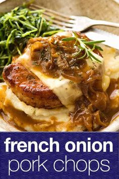 French Onion Soup meets juicy pan seared pork chops, very good things happen. (the addition of melted cheese helps!)When French Onion Soup meets juicy pan seared pork chops, very good things happen. (the addition of melted cheese helps! Easy Pork Chop Recipes, Healthy Recipes, Pork Recipes, Healthy Meals, Cooking Recipes, Onion Recipes, French Food Recipes, Recipies, Cooking Bacon