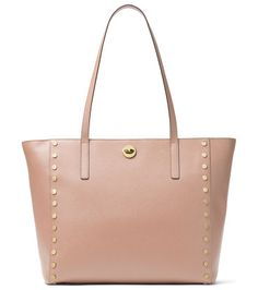 """Rivington Large Studded Tote Bag by MICHAEL Michael Kors. MICHAEL Michael Kors leather tote bag with studded trim. Golden hardware. Thin top handles, 11"""" drop. Open top with t..."""