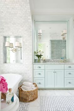 Pretty white/light blue bathroom