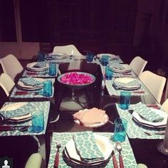 The sweet M hosting a beautiful dinner with our Crab Head Placemats and napkins in Beirut. Thank you for the support. #ecru #tableware #napkins #placemats #ecruonline #blue