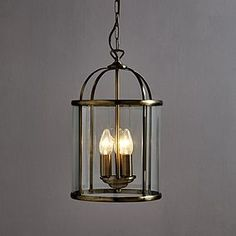 Finished with an elegant antique brass finish, this classic hanging lantern is crafted from clear glass and features three inside lights. Offering a sophisticated design, it will make a bold focal point in any room. Hall Lighting, Flush Lighting, Lighting Ideas, Victorian Pendant Lighting, Lantern Ceiling Lights, Victorian House Interiors, Victorian Townhouse, Hallway Designs, Hallway Ideas