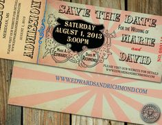 Circus, Carnival or Cinderella theme Wedding Save the Date or Baby Shower or Birthday Party Ticket with steampunk and vintage elements Carnival Wedding, Carnival Birthday, Vintage Carnival, Vintage Circus, 13th Birthday, Carnival Baby Showers, Cinderella Theme, Party Tickets, Before Wedding