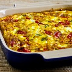 Roasted Green Bell Pepper and Roasted Tomato Breakfast Casserole with Feta and Oregano #glutenfree #grainfree