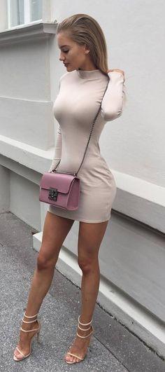 trendy outfit dress + bag + heels