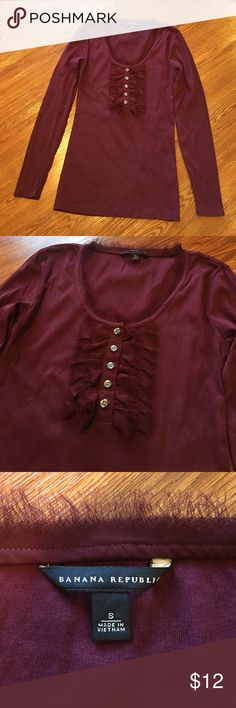 BR Ruffle Neck Tee Cute and simple, excellent condition. Soft maroon shirt with delicate ruffles around neck and down the front. Banana Republic Tops Tees - Long Sleeve