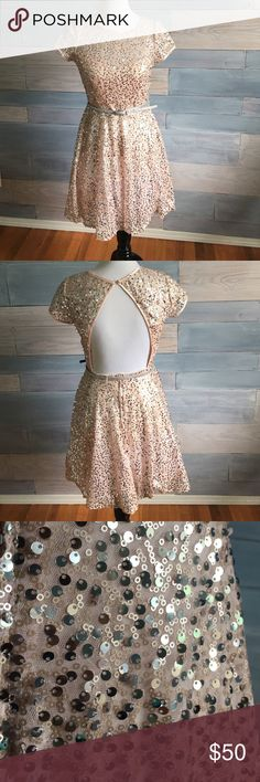 Blush sequin party dress Blush sequin party dress with open back and silver sparkle belt. Sweetheart illusion neckline and blush satin trim. Beautiful dress! Perfect condition. Perfect homecoming/prom/New Year's Eve dress! Deb Dresses Backless