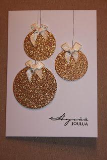 Piitun puuhanurkka: joulukuuta 2012 - My site Christmas Card Crafts, Homemade Christmas Cards, Christmas Cards To Make, Homemade Cards, Handmade Christmas, Holiday Crafts, Christmas Glitter, Xmas Cards Handmade, Christmas Christmas