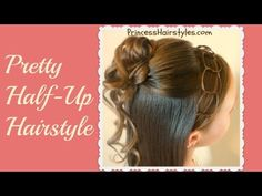 Formal Half Updo, Cascading Curls & Chain Headband Hairstyle How to Video Tutorial by Princess Hairstyles