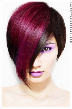 Looking for a hot and trendy hairstyle? This bob hairstyle is cool and funky. The hair is styled short at back with the front, much longer. The fringe falls down to the chin and it's a fun and playful style.
