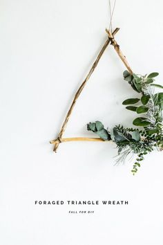 Twig and Greenery Triangle Wall Decor