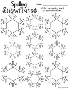 Sight Word Snowflakes {FREE} Worksheet by TheHappyTeacher 1st Grade Spelling, Sight Word Spelling, Spelling Practice, Sight Word Games, Spelling Worksheets, Sight Word Worksheets, Spelling Activities, Sight Word Activities, Site Words