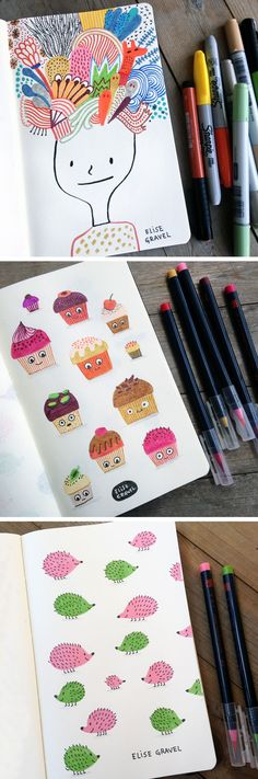 Elise Gravel illustration • sketchbook • notebook • doodles • drawings • art • imagination • creativity • inspiration • hedgehogs • cupcakes • cute • instagram