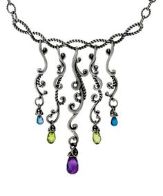 Another great find on #zulily! Peridot & Amethyst Twisted Vine Statement Necklace #zulilyfinds