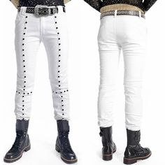 Just the pants?  Cool Men White Studded Slim Fit Cyber Punk Rock Fashion Pants Trousers SKU-11404288