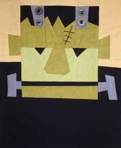 carl frankenstein halloween quilt block pattern