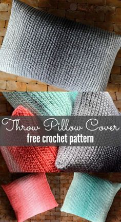 This throw pillow cover is a free crochet pattern, uses just one skein of Red Heart's new Ombre yarn, and has an optional zipper! #freepattern #crochet #freecrochetpattern