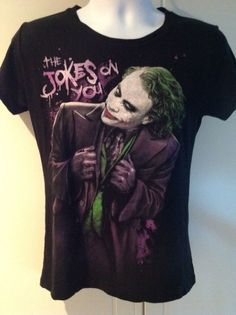 Vintage Joker from Batman Graphic Tee T-Shirt Black The Dark Night Heath Ledger #Unknown #ShortSleeve