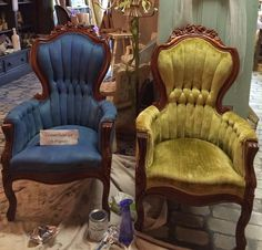 Velvet Heirloom Chairs Updated with Chalk Paint