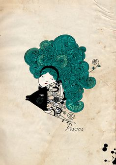 Digital illustration print  Pisces Zodiac Sign by krize