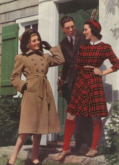 1940s plaid tartan red tan jacket men's suit women's vintage fashion style color photo print ad knee socks hat shoes belt black white dress war era