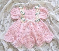 """Crochet Pattern for """"Baileigh"""" Baby Dress by REBECCA LEIGH -  6 months to 12 mos 