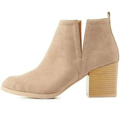 Charlotte Russe Notched Faux Suede Ankle Booties ($39) ❤ liked on Polyvore featuring shoes, boots, ankle booties, taupe, charlotte russe, high ankle booties, faux suede booties, almond toe boots and chunky booties