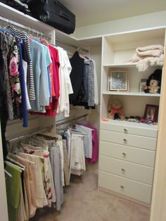Do you need to whip your small walk-in closet into shape? You will love these 20 incredible small walk-in closet ideas and makeovers for some inspiration! Walk In Closet Small, Small Closet Storage, Bedroom Closet Storage, Walk In Closet Design, Small Closet Organization, Master Bedroom Closet, Closet Designs, Diy Bedroom, Attic Storage
