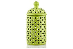 "11"" Pierced Covered Ceramic Jar, Green (5"" dia) 