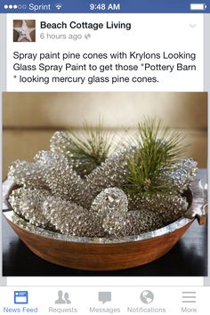 Pine cones painted with Krylon Looking Glass Silver. Pine cones painted with Krylon Looking Glass Si Pine Cone Crafts, Christmas Projects, Holiday Crafts, Holiday Fun, Fall Crafts, Pine Cone Wreath, Festive, Pine Cone Art, Acorn Crafts
