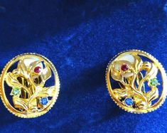 Jackie Kennedy Clip On Earrings Vine and Flowers - Gold Plated, Stones, Box and Certificate Jacqueline Kennedy Jewelry, Jackie Kennedy Wedding, Round Earrings, Clip On Earrings, Flower Earrings, Drop Earrings, Signature Stamp, Gold Plated Bracelets, Pink Stone