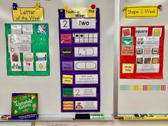 This is what a Kindergarten Focus Wall has on it on the second week of school: The letter B number 2 and the square. From HeidiSongs. Kindergarten Focus Walls, Kindergarten Calendar, Kindergarten Classroom Decor, Classroom Walls, Classroom Setup, Classroom Displays, In Kindergarten, Preschool Learning Activities, Preschool Curriculum