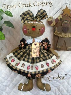 """Primitive NEW Raggedy Gingerbread Doll """"COOKIE"""" in Black and Cream"""