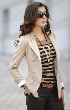 Fashion For Women: Black Double-Breasted Slim Blazer Jacket Coat