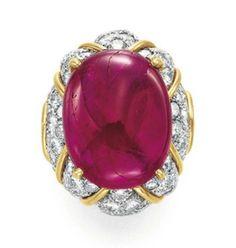 Lot 372 - A RUBY AND DIAMOND RING, BY DAVID WEBB