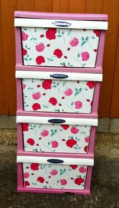 Pretty Pink Floral Plastic 4 Drawer Cart. Strong and Sturdy. Large and Spacious. Wedding Vases, Floral Wedding, Drawer Cart, Farm Yard, Champagne Flutes, Prosecco, Wooden Beads, Table Centerpieces, Flower Vases
