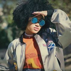 These shades add an automatic cool factor to any outfit.Sunglasses always make someone look more mysterious because you can't see their eyes and you can't totally read their entire expression. The blue round-aviator style sunnies look totally retro and chic on Amandla! It is so exciting to experiment with different sunglasses for a fun and new look. Instagram - @amandlastenberg Twitter - @amandlastenberg Photo: Amandla Stenberg/Instagram