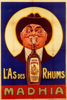 1925 Eugène Ogé Rhum Mahdia, lith. en couleurs, 148x98 cm Vintage French Posters, Vintage Advertising Posters, Vintage Advertisements, Vintage Wine, Vintage Ads, Wine Poster, Bar Art, Vintage Stamps, Old Ads