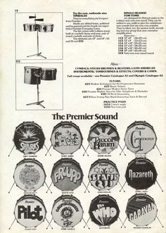 1975 Premier Drums Advertisement, including logos for Sparks, Pilot, The Who, and Genesis.(via: thewho.net)