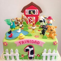 Imagen relacionada Farm Birthday Cakes, 1st Bday Cake, Farm Animal Birthday, Baby Birthday, First Birthday Parties, Birthday Party Themes, First Birthdays, Barn Cake, Baby Tv Cake